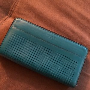 Coach Accordion Style Leather Wallet Green/Blue